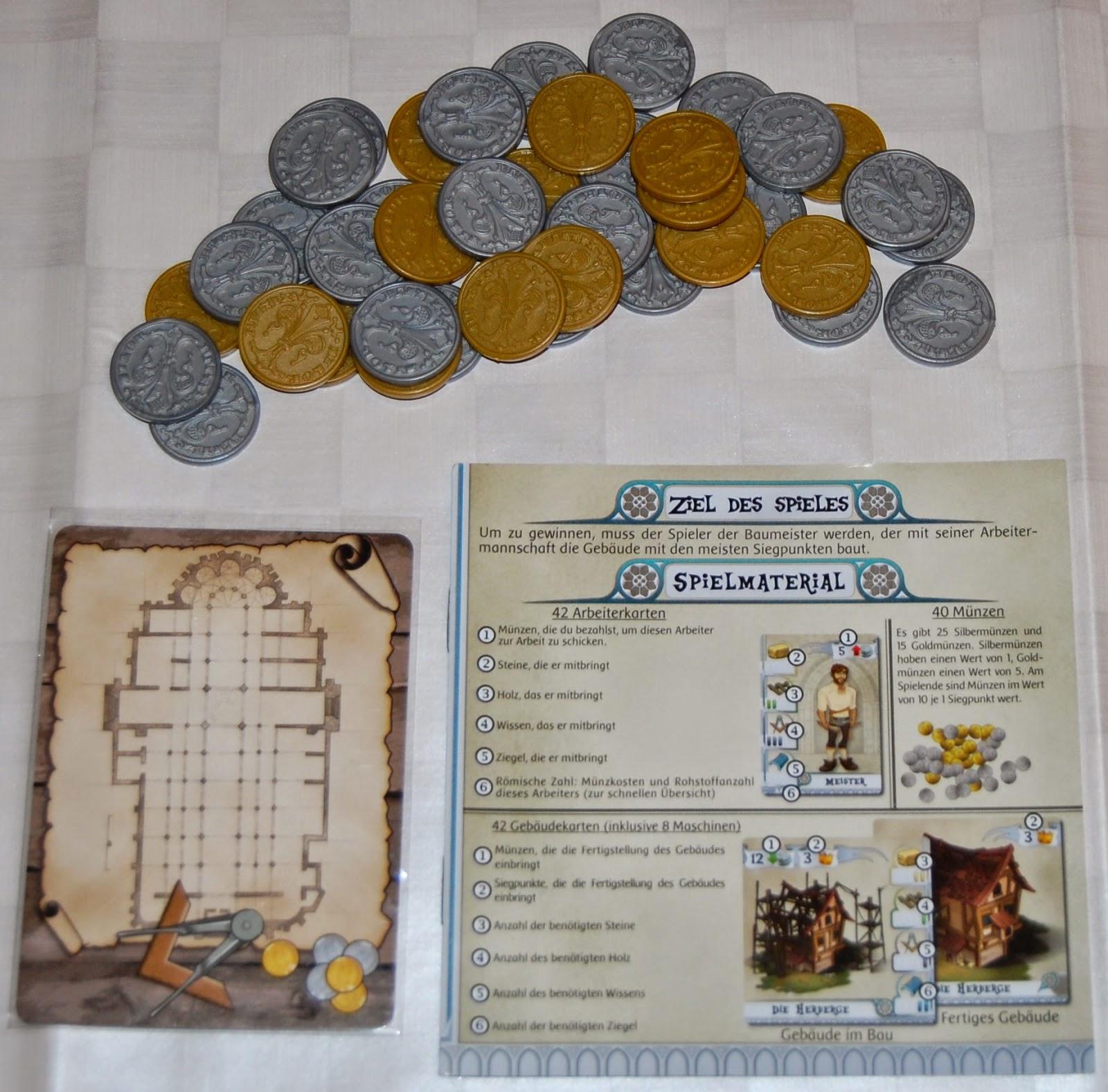 Reglas, monedas y carta de jugador inicial