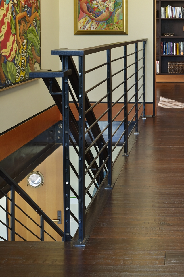 Close up photo of staircase railings in the floating home