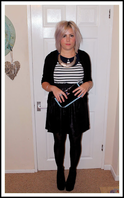 outfit post with skater skirt and platform boots