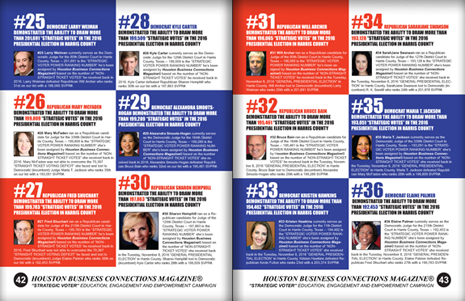 "PAGES 42 AND 43 - HOUSTON BUSINESS CONNECTIONS MAGAZINE© ""STRATEGIC VOTER"" MOBILIZATION PROJECT"