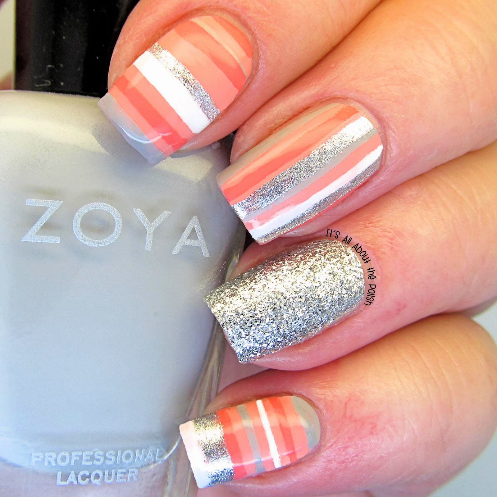 It\'s all about the polish: Multi-colour nail art stripes photo tutorial