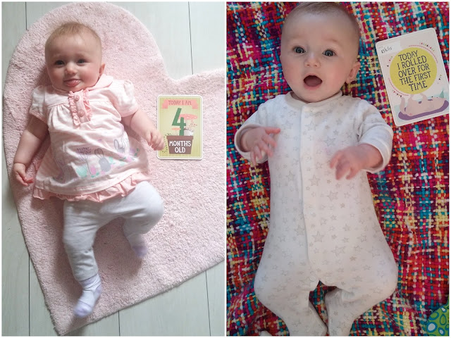 baby girl's four month update rolled over for the first time milestone cards