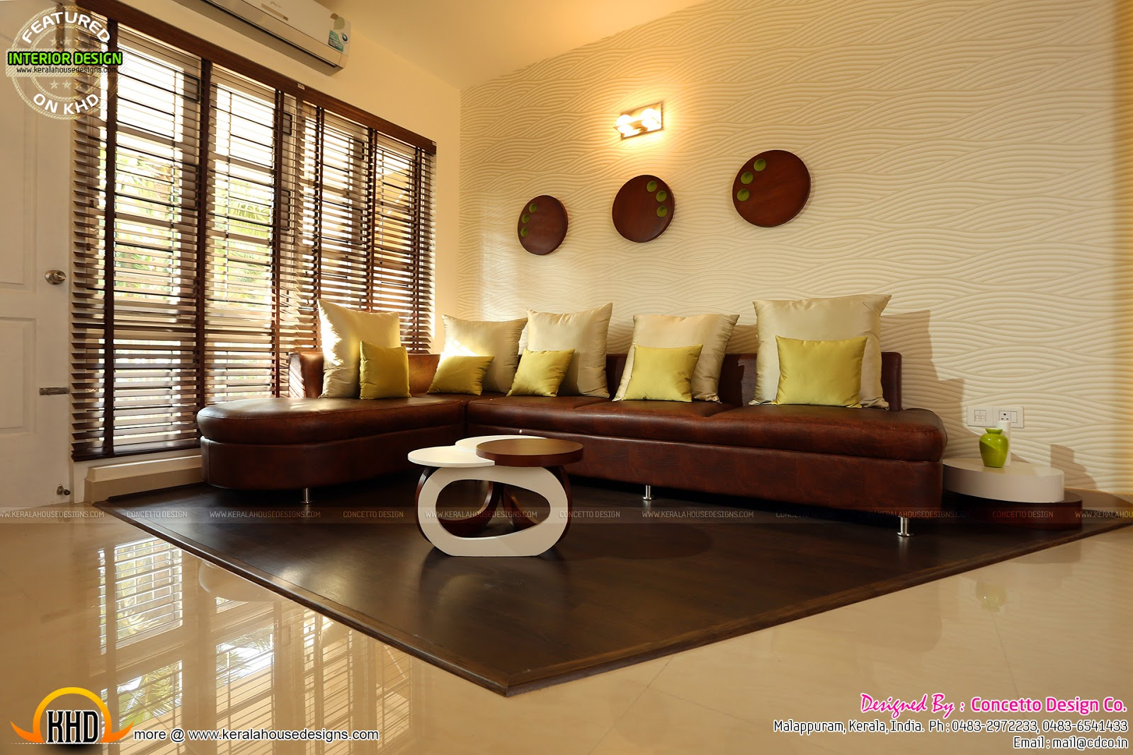 Kerala flat interior design kerala home design and floor for Living room interior in kerala