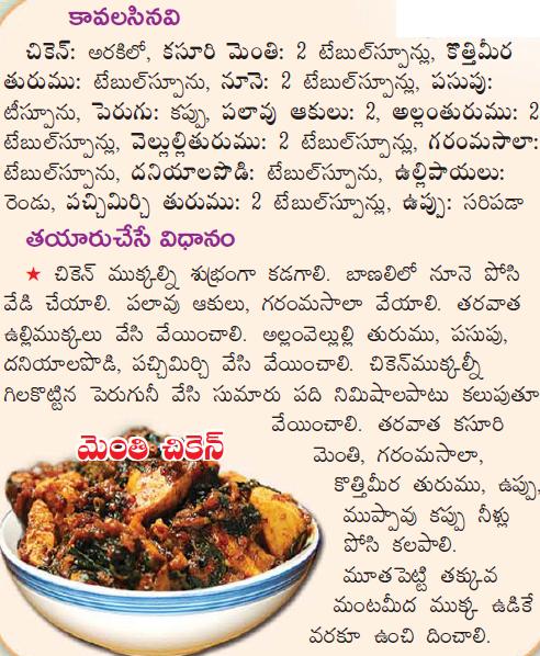 Healthy food recipes methi chicken recipe in telugu methi chicken recipe in telugu forumfinder Images