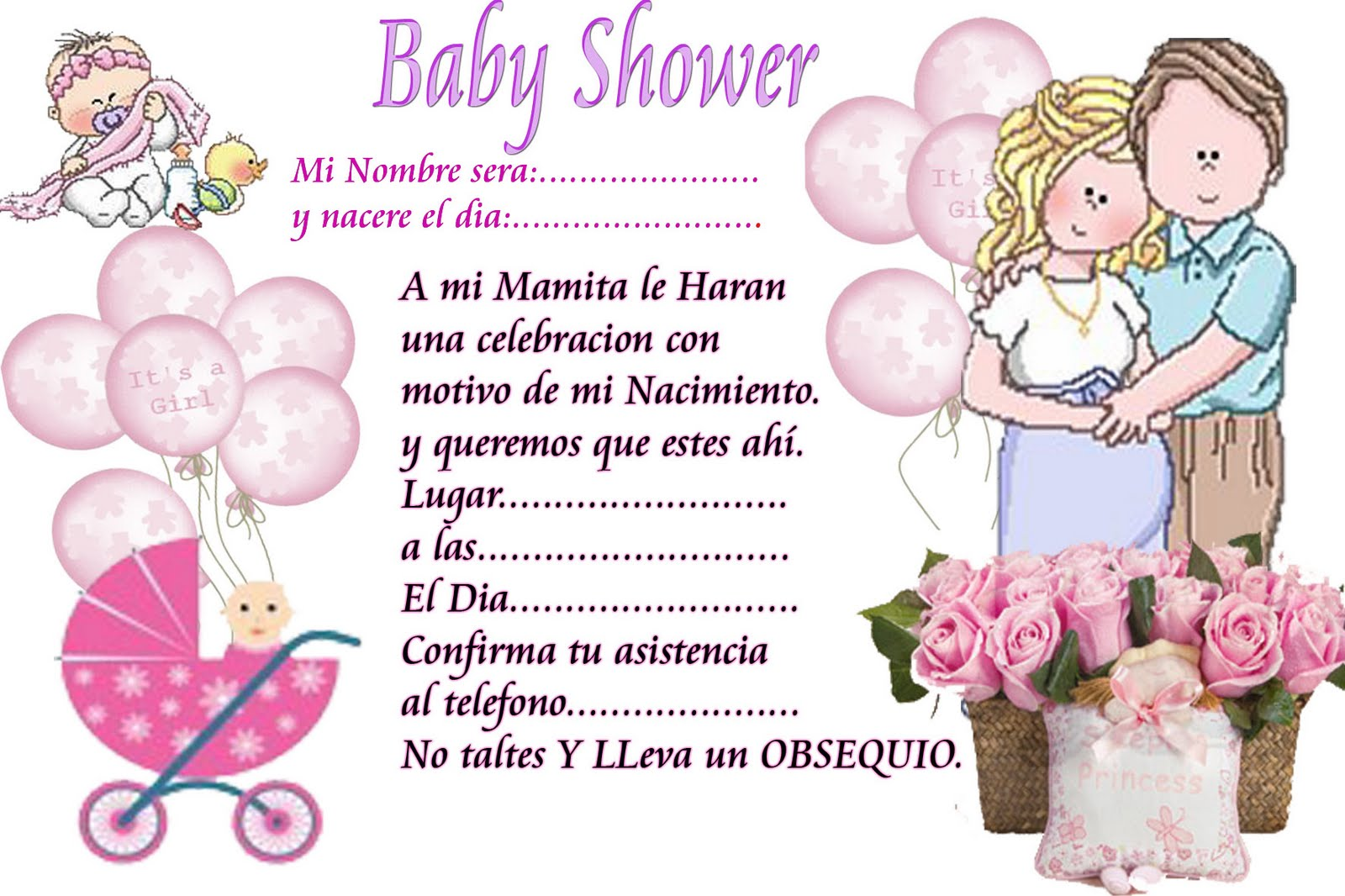 nany decoraciones invitaciones de baby shower
