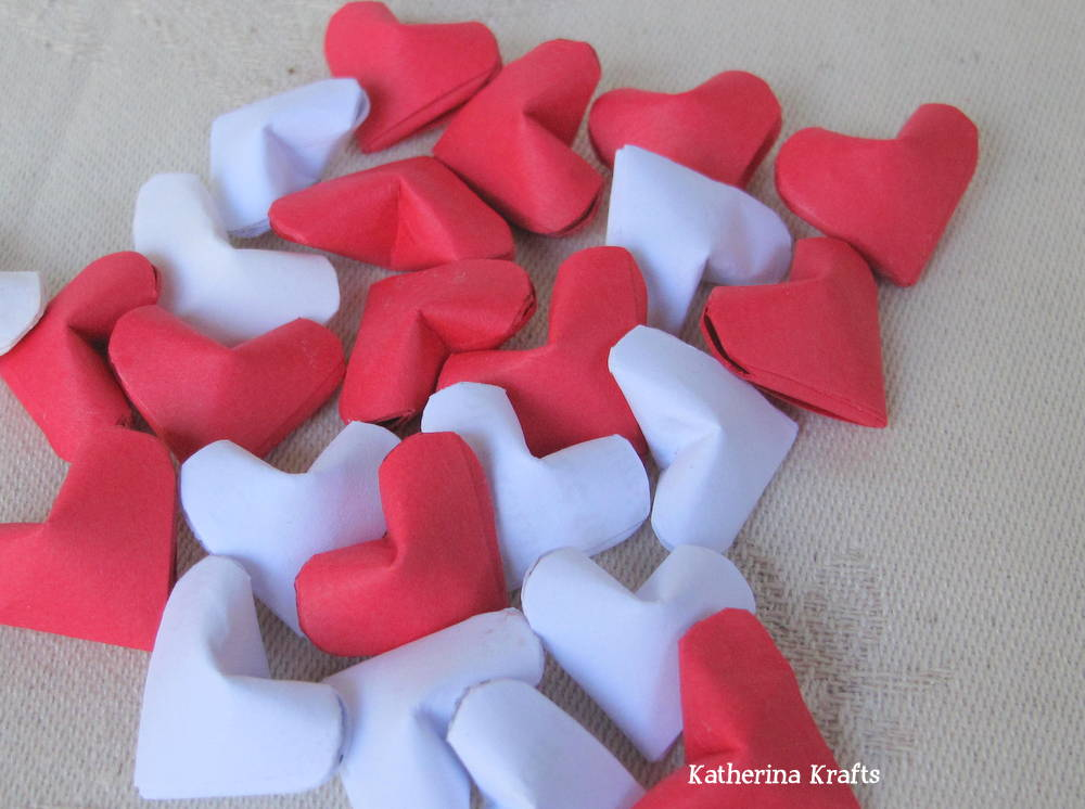 These origami hearts are great for displaying in a pretty vase or