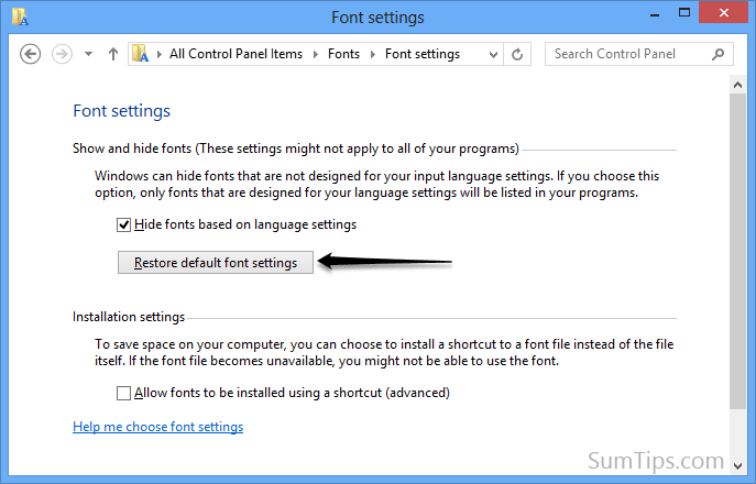 restore font settings in windows 8