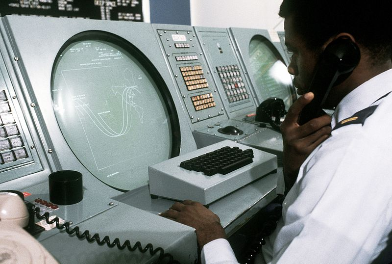 Man Monitors Radar Scope in NORAD Command Center