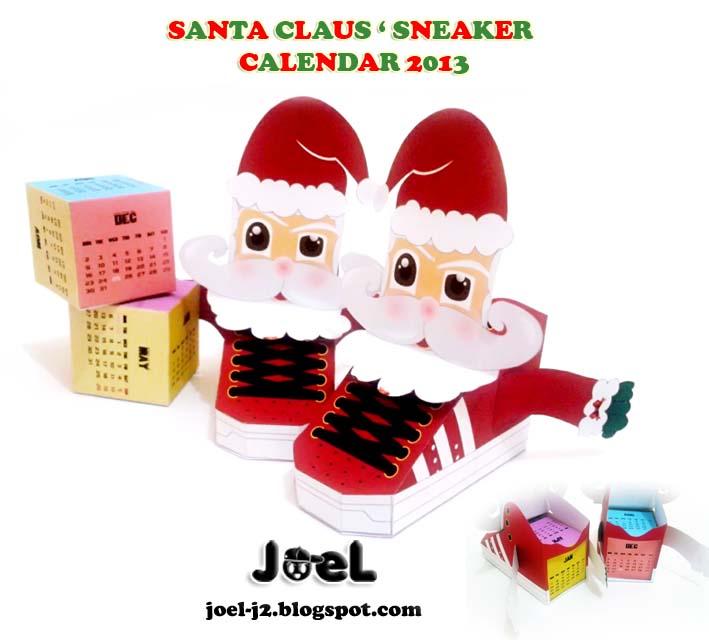 Santa Claus Sneaker Paper Toy 2013 Calendar