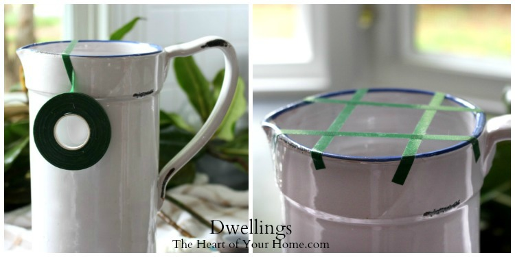 floral tape and ceramic pitcher