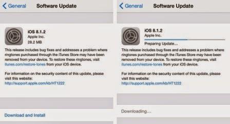 Apple gulirkan update iOS 8.1.2 untuk perbaiki masalah ringtone