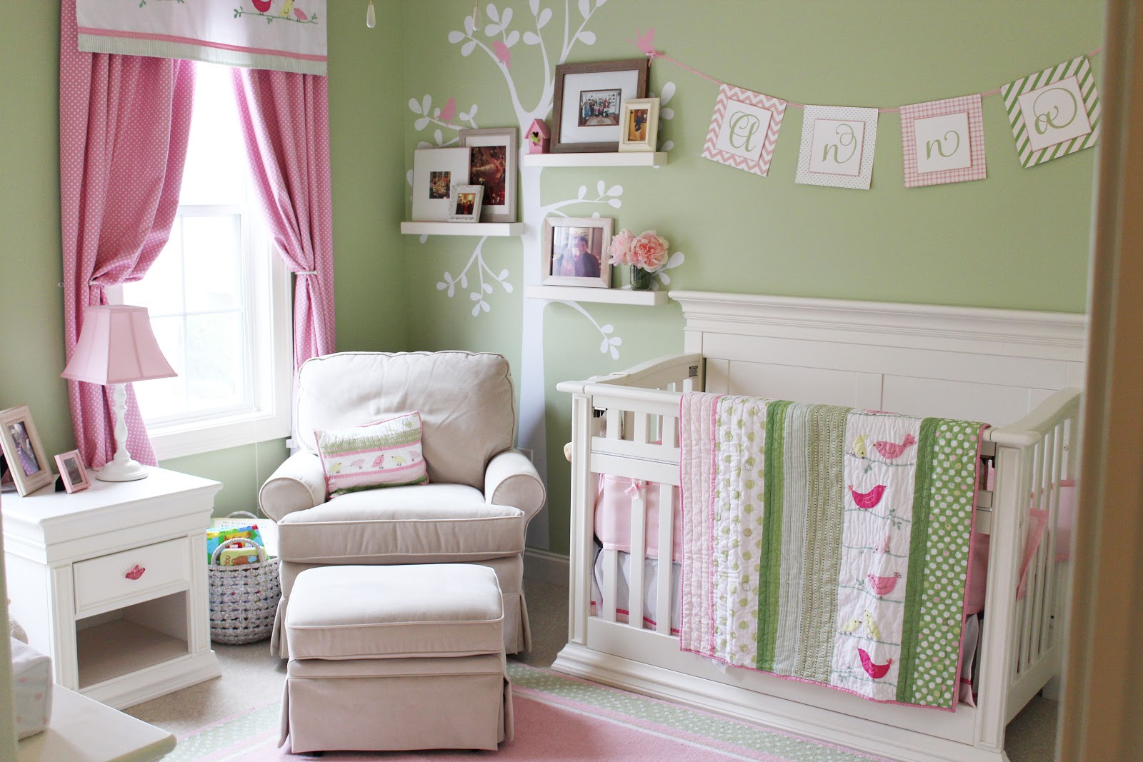 anna 39 s pink and green nursery and free printable izzy designs llc. Black Bedroom Furniture Sets. Home Design Ideas