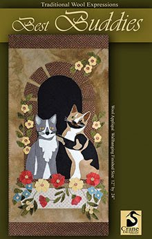 "Best Buddies Wool Applique Wallhanging 12"" by 24"""