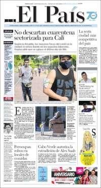15/07/2020   COLOMBIA  UNA  PRIMERA PÁGINA DE LA PRENSA