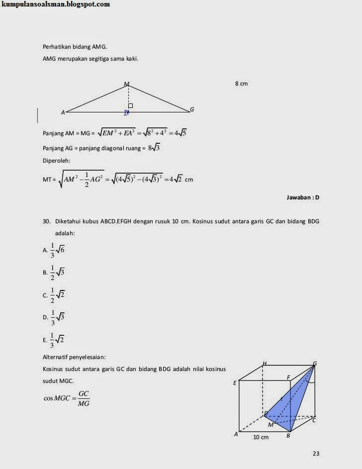 Pembahasan Un Matematika Sma Ipa 2014 Download Soal Sma