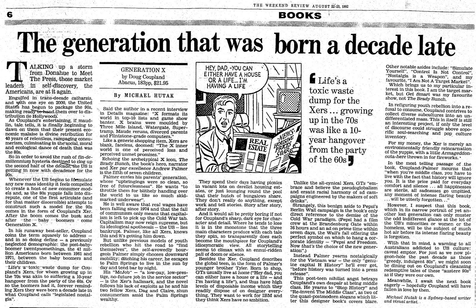 generation x by douglas coupland essay 05012010 douglas coupland, generation x, and the politics of postmodern  2013 essay by coupland on the writing of  douglas coupland , stan douglas ,.