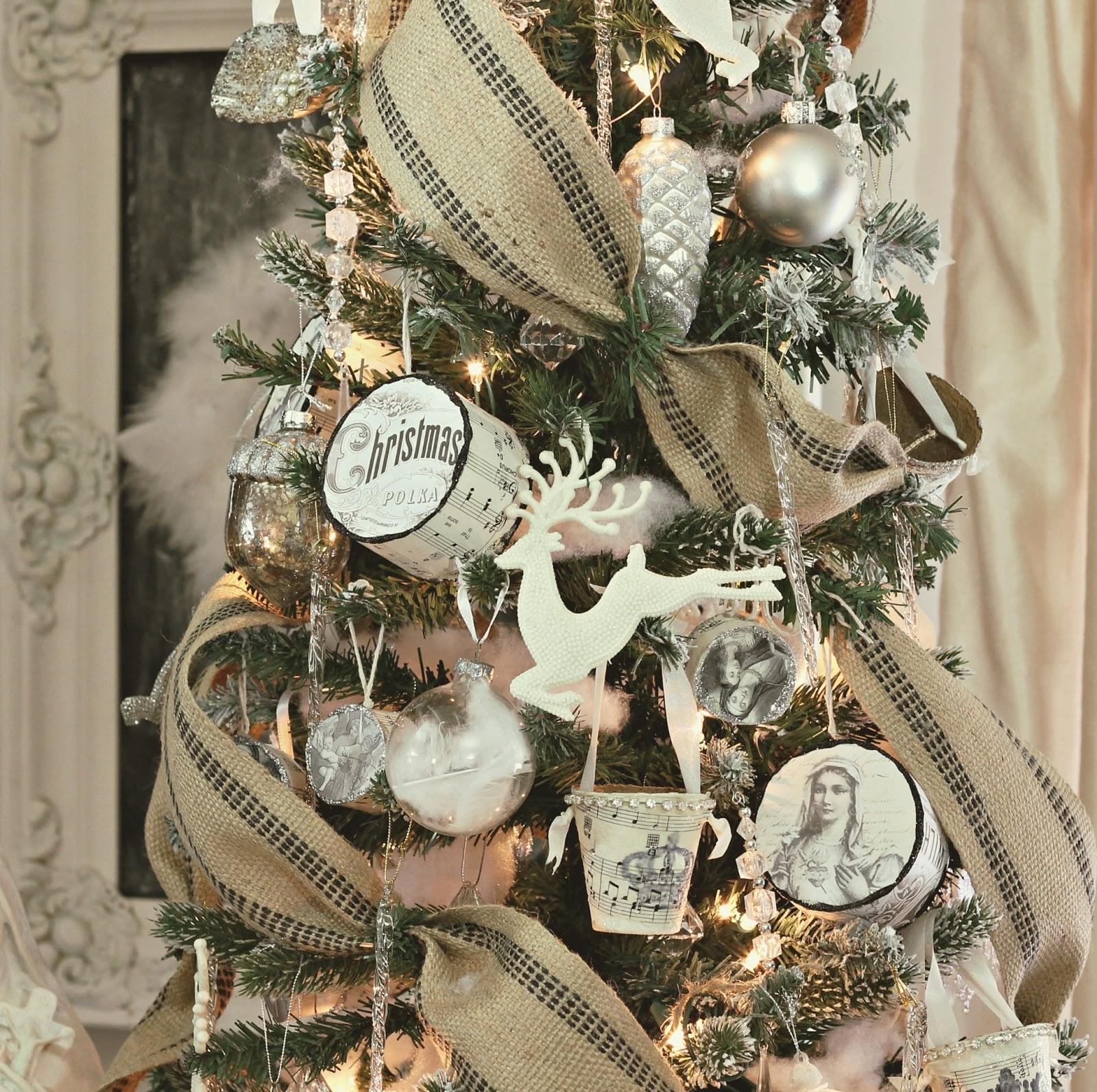 Burlap ribbon ivory decorations christmas pinterest for Decorating with burlap ribbon for christmas