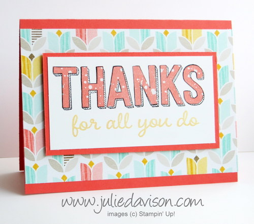 Stampin' Up! Sale-a-bration For Being You paper piecing thank you card #stampinup #saleabration www.juliedavison.com