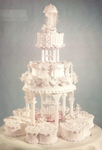 Beautiful Square With Fountains Wedding Cakes