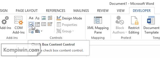 2 Cara Menambah Kotak Centang/Checklist ke Dokumen Word 3