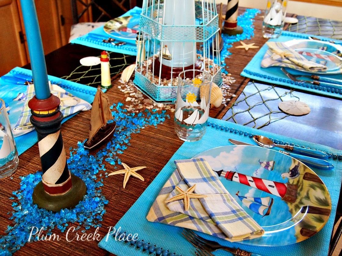 Lighthouses, tablescape, sailboats, nautical,  lighthouse tablescape.