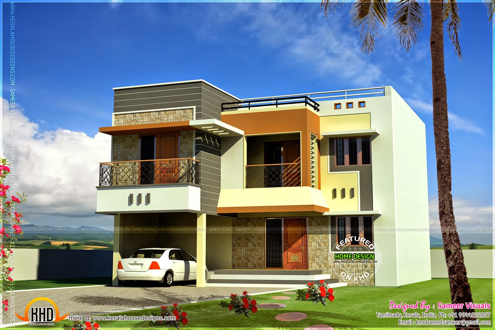 195 square meter modern home kerala home design and for Modern square house