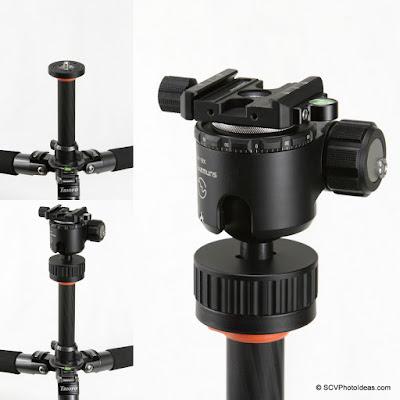 Tripod mouting sequence of inverted Sunwayfoto XB-44 BH via SCV-FK Flip kit