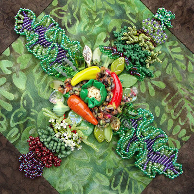 bead embroidery by Robin Atkins, bead journal project, garden, center detail
