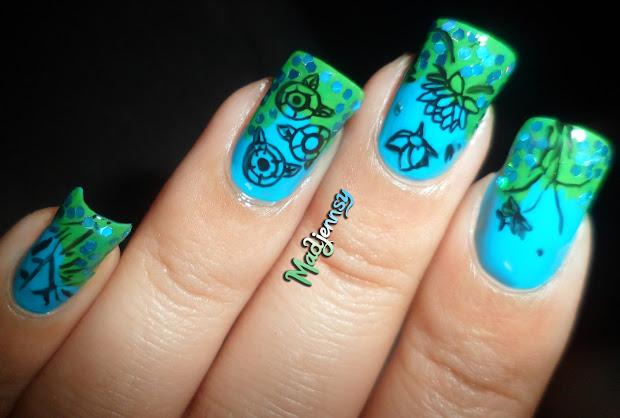 lotus pattern nail art stamping