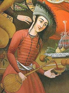 Grabado antiguo persa - sirviendo vino