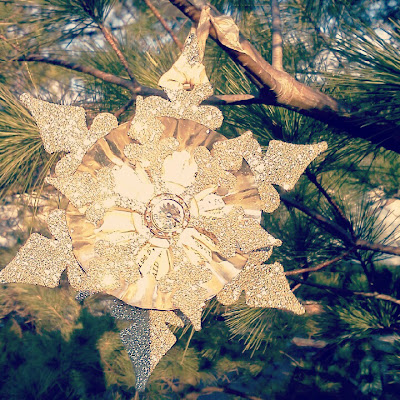 ornament, vintage, paper, glitter, tin, repurpose, holiday, snowflake, star, shimmer, sparkle, rhinestone, glamour, earring, broach, silver, tree, one-of-a-kind, handmade, gem, beautiful, craft, create, diy