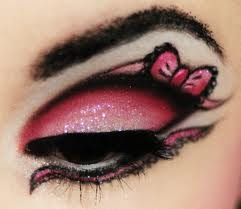 Cute Pink Bow Accented Eye Makeup