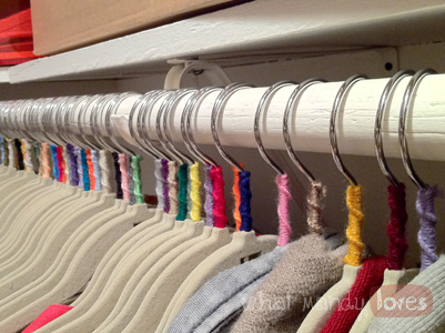 DIY Yarn-Wrapped Coat Hangers via www.whatmandyloves.com