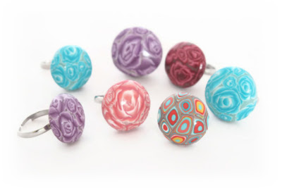 Polymer Clay Millefiori Rings by Lottie Of London