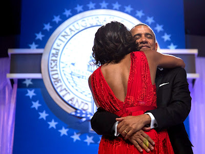 Obama Hugs Wife After Dancing at Inaugural Ball