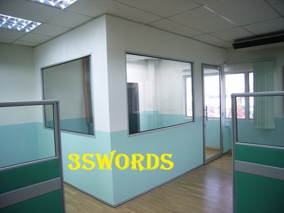 Office interior renovation gypsum board partition