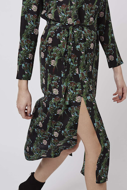 topshop boutique midi dress, green flower silk dress,