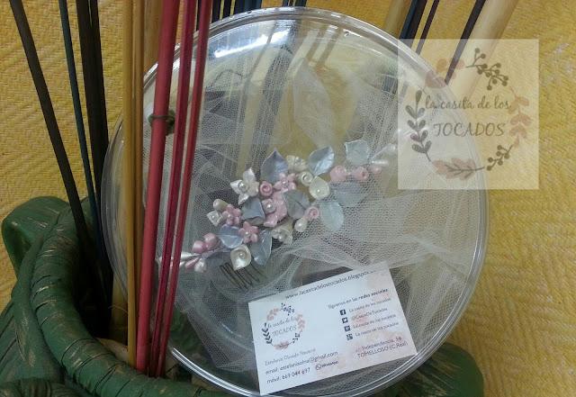 peineta para novia artesanal realizada en porcelana fría varios colores