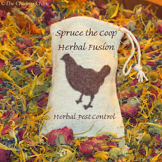 Spruce the Coop Herbal Fusion, natural herbal blend intended to deter mites, lice and other insects.