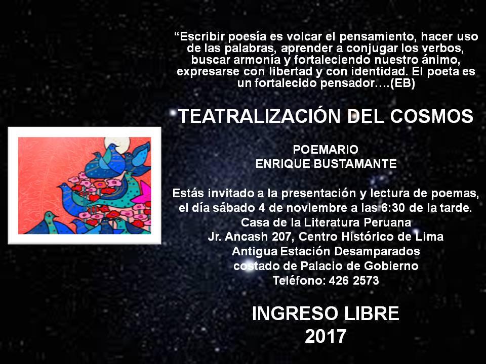 PRESENTACION DE POEMARIO TEATRALIZACION DEL COSMOS