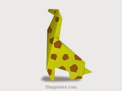 Cách gấp, xếp con hươu cao cổ bằng giấy origami - Video hướng dẫn xếp hình - How to make a Giraffe