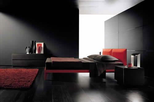 Idees De Cuisine Moderne Noir Et Blanc : Conceptions Chambres à coucher rouge et noir ~ Décor de Maison