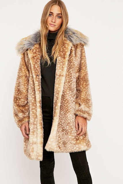 bambi fur coat, deer coat, spotty fur collar coat, Little White Lies fur coat,