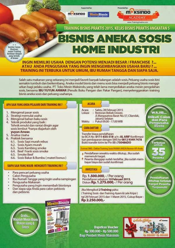 Ikuti Training Bisnis Praktis Roti, Ayam Goreng dan Aneka Sosis