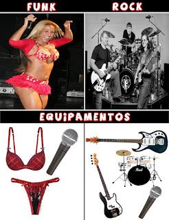 Equipamentos do funk (valeca popozuda) e do rock - calcinha e microfone / guitarra, microfone, bateria