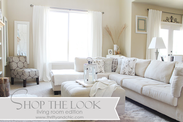 Shop the look -shows were to get main pieces in this living room...all on a budget!