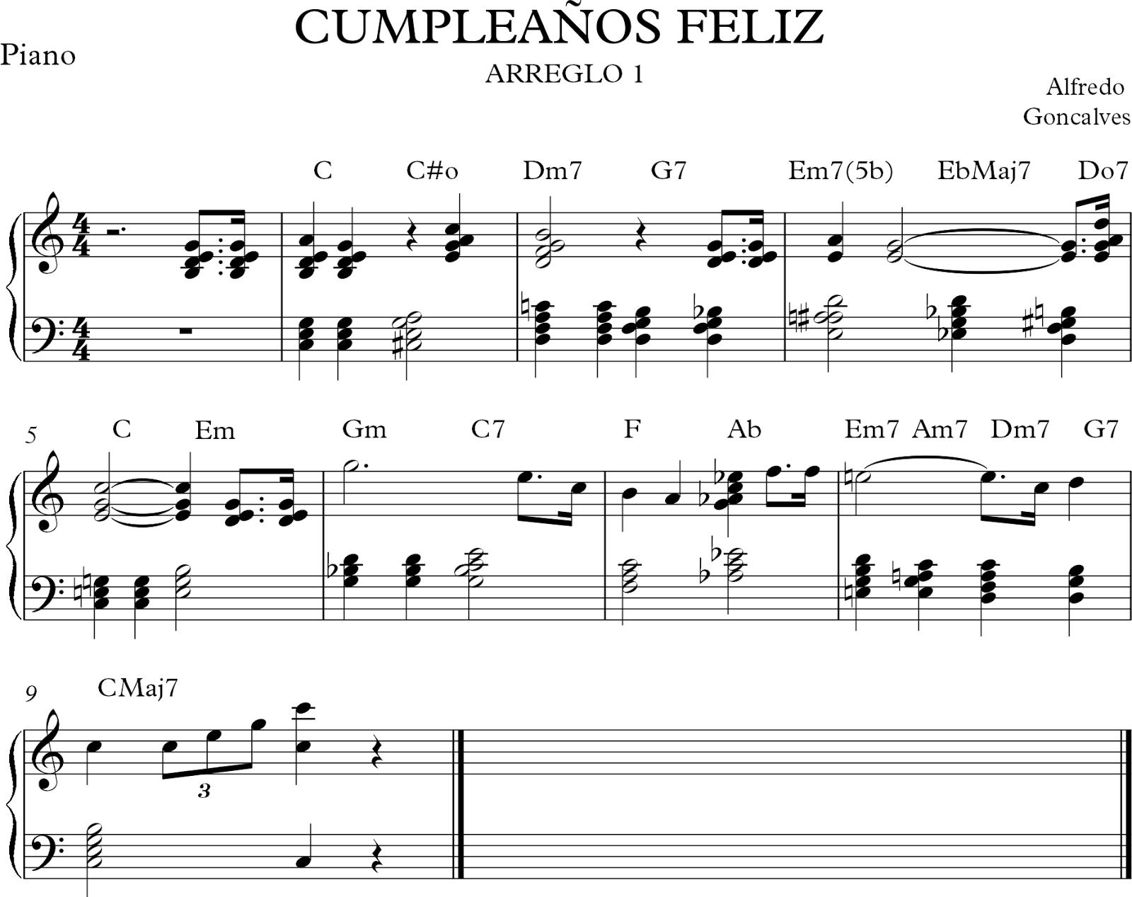 Armonizaci n y arreglo cumplea os feliz partitura capa musical - Cumpleanos feliz piano ...