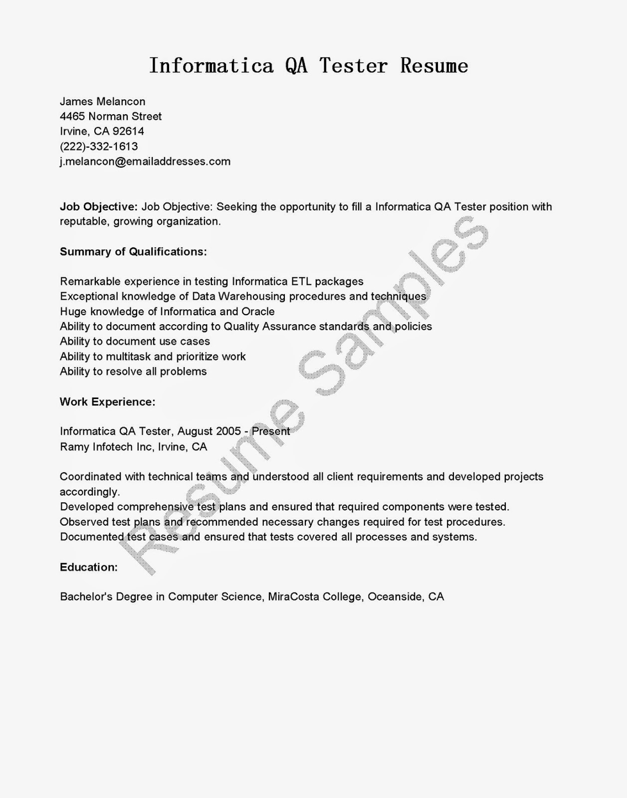 Resume Sample For Qa Tester