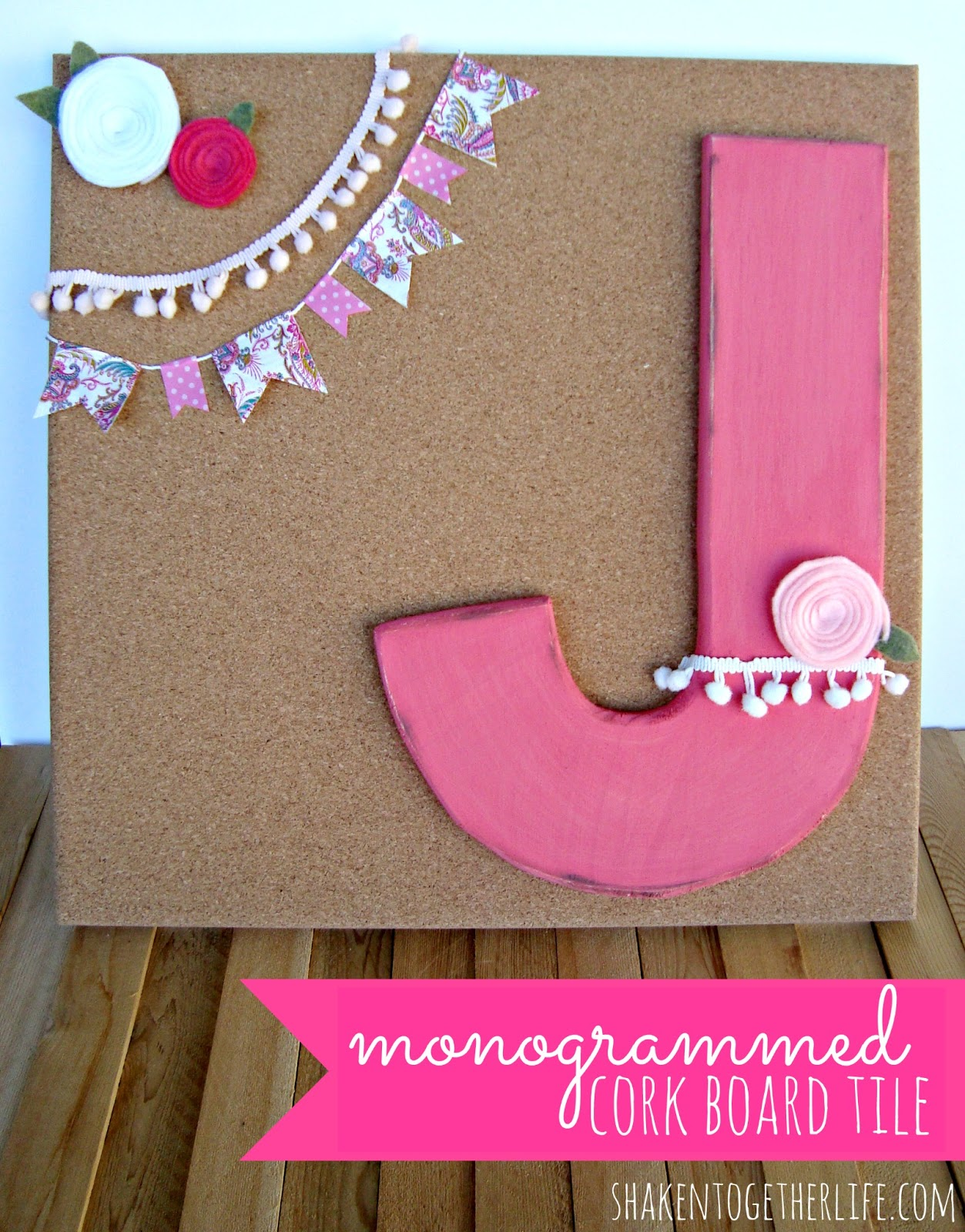 Monogrammed cork board tile personalized baby gift so i picked up a cork board tile at target and a wooden j from joanns and put together this perfectly girly pinkalicious monogrammed cork board tile negle Image collections