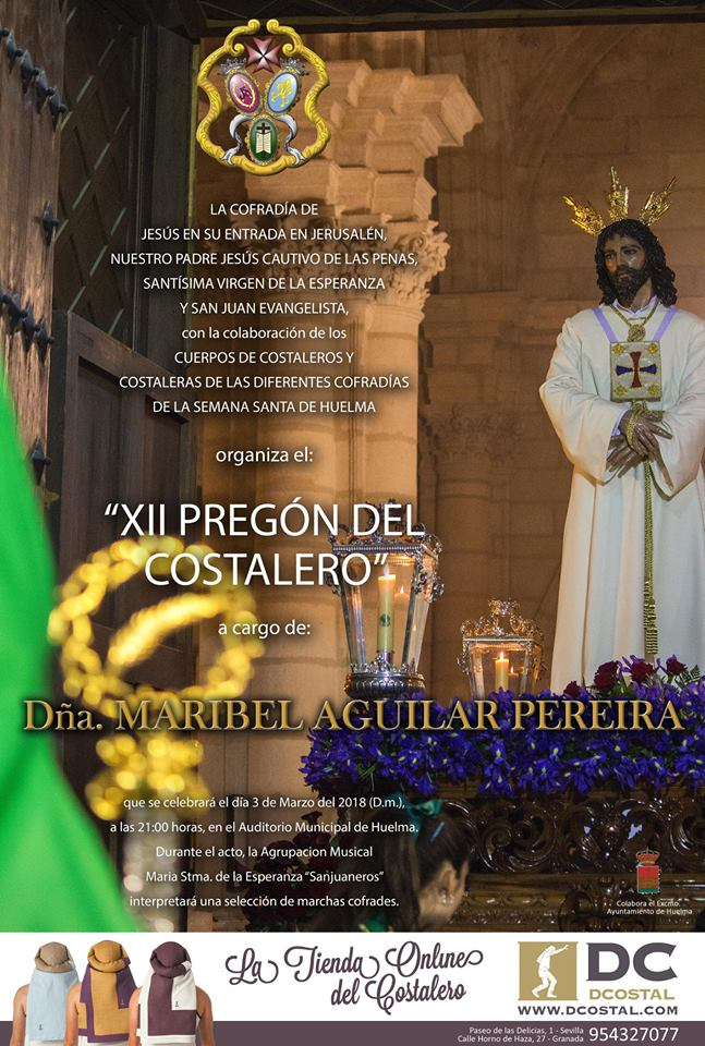 SÁBADO 3 DE MARZO. XII PREGÓN DEL COSTALERO 2018